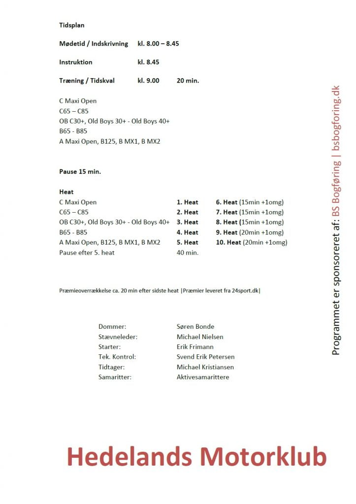 SM OB Mini Maxi program Tidsplan